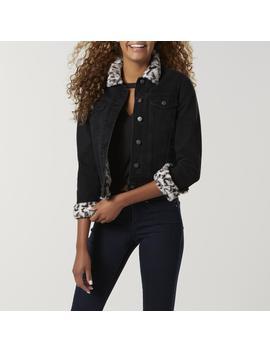 Amplify Juniors' Faux Fur Lined Denim Jacket   Leopard by Amplify