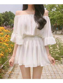 Romantic Muse Off Shoulder Shirred Waist Mini Dre by Mixxmix