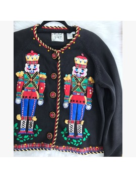 Vtg Michael Simon Nutcracker Christmas Cardigan by Michael Simon