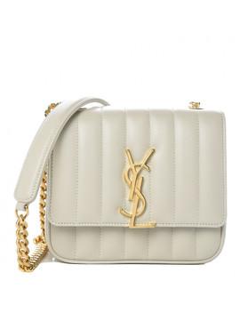 Saint Lauren Lambskin Matelasse Small Vicky Chain Bag White by Yves Saint Laurent