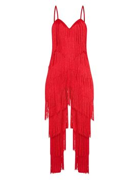Red Tassel Plunge Jumpsuit by Prettylittlething