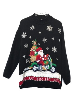Tiara Santa Motorcycle Christmas Sweater by Tiara