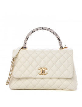 Chanel Caviar Elaphe Quilted Small Coco Handle Flap Ivory by Chanel