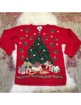 Red Christmas Tree Bells Ugly Christmas Sweater by Tiara