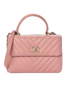 Chanel Lambskin Chevron Quilted Small Trendy Cc Dual Handle Flap Bag Pink by Chanel