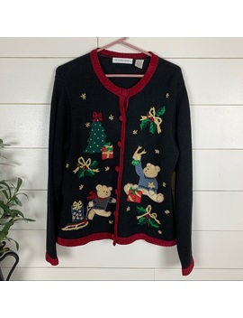 Vintage Teddy Bear Ugly Christmas Sweater Cardigan by Victoria Jones Woman
