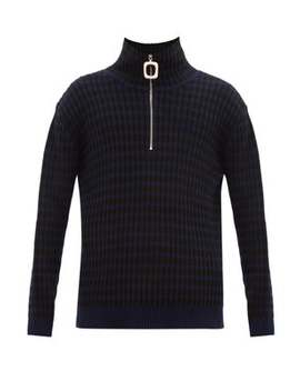 Striped Quarter Zip Wool Blend Sweater by Jw Anderson
