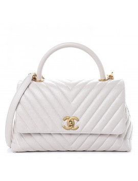 Chanel Aged Calfskin Chevron Quilted Small Coco Handle Flap Rose Pale by Chanel