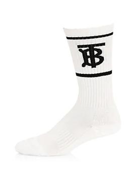 Monogram Dual Stripe Sport Crew Socks by Burberry