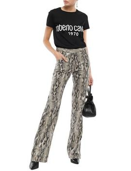 Printed Cotton Jersey T Shirt by Roberto Cavalli