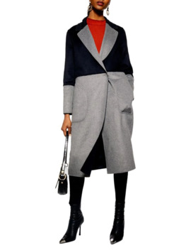 Meg Reversible Colourblock Wool Blend Coat by Topshop