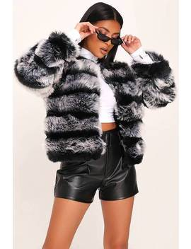 Grey Contrast Pelted Fur Coat by I Saw It First