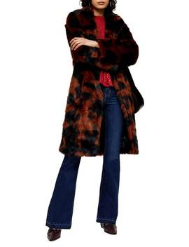 Cow Print Faux Fur Coat by Topshop