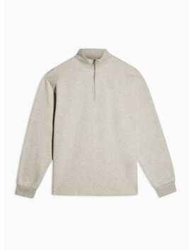 Grey Quarter Zip Sweatshirt by Topman