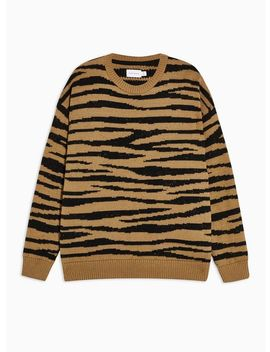 Brown Brushed Tiger Print Sweater by Topman