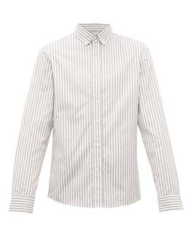 Striped Cotton Poplin Shirt by Brunello Cucinelli