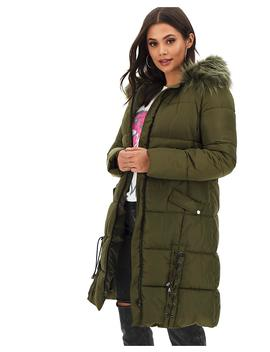 Khaki Lace Up Longline Puffer Coat by Simply Be