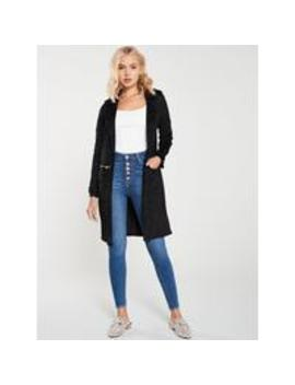 River Island Faux Suede Utility Jacket Black by River Island