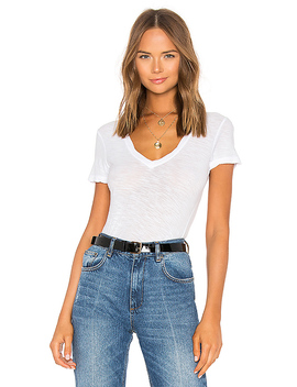 Casual V Neck Tee With Reverse Binding In White by James Perse