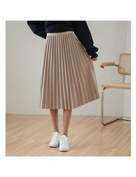 Justone   Accordion Pleat Midi Flare Skirt by Justone