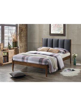 Queen Light Gray Biggs Mid Century Fabric And Wood Platform Bed by Allmodern