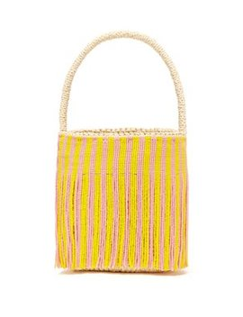 Beaded Fringe Torquilla Straw Basket Bag by Sensi Studio