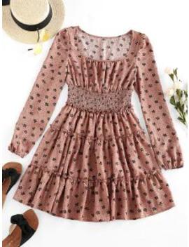 Zaful Ditsy Floral Frilled Smocked Waist Dress   Khaki Rose S by Zaful