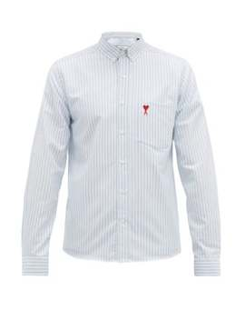 Logo Embroidered Striped Cotton Oxford Shirt by Ami