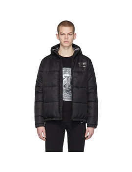 Black Logo Puffer Jacket by Moschino