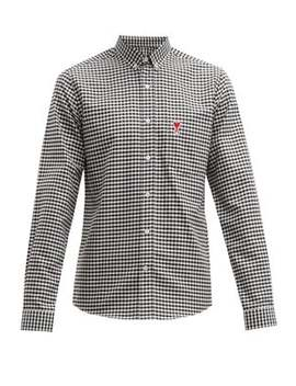 Logo Embroidered Gingham Cotton Shirt by Ami