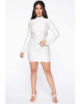 Don't Ask Questions Pearl Mini Dress   White by Fashion Nova