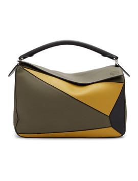 Khaki Large Puzzle Bag by Loewe