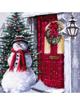 Snowman Outside The Door Led Canvas Wall Décor by Charlton Home