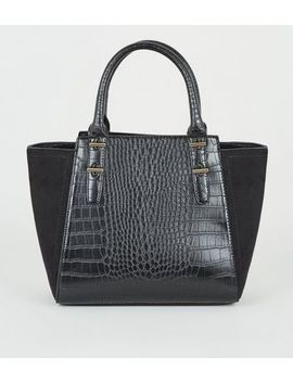 Black Faux Croc Small Tote Bag by New Look