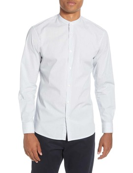 Port Slim Fit Band Collar Button Up Shirt by Selected Homme