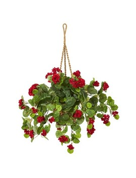 "27"" X 26"" Artificial Geranium Plant In Hanging Basket Red/Green   Nearly Natural by Nearly Natural"