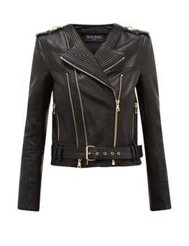 Ribbed Leather Biker Jacket by Balmain