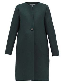 Round Neck Pressed Virgin Wool Felt Coat by Harris Wharf London