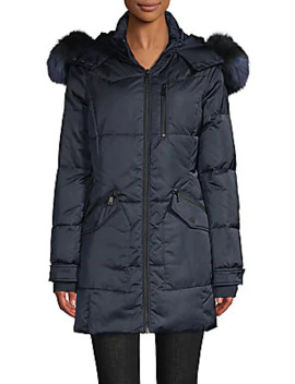 Fox Fur Trim Quilted Down Parka Coat by 1 Madison