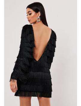 Black Tassel Fringe V Back Shift Dress by Missguided