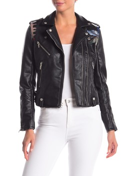 Embroidered Faux Leather Moto Jacket by Blanknyc Denim