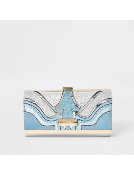 Blue Glitter Cutabout Clip Top Purse by River Island