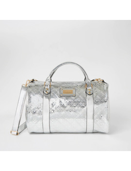 Silver Ri Embossed Weekend Duffle Bag by River Island