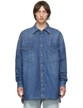 Blue Denim Oversized Shirt by Maison Margiela