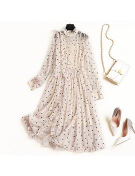 New 2019 Autumn Fashion Women Girls Cute Dots Mesh Dress Ruffles Lolita Style Long Sleeve A Line Cute Dresses Beige by Ali Express.Com