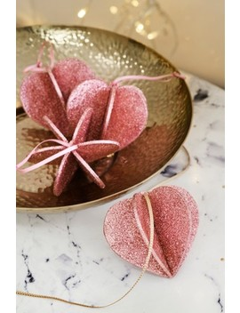 Set Of 4 Heart Baubles by Next