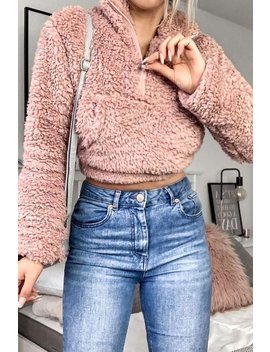 Pink Teddy Faux Fur Zip Front Sweater by Lasula