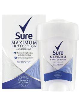 Sure Women Maximum Protection Cream Anti Perspirant Deodorant Clean Scent 45ml by Sure