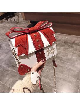 Fashion Cute Bow Shoulder Bags Women Sweet Girl Red Handbag Famous Designer Pu Leather Messenger Bags Bag Lolita Kawaii Clutch by Ali Express.Com