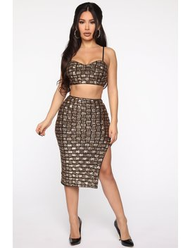 Feeling Golden Sequin Set   Black/Gold by Fashion Nova